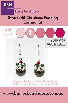 Earring Kit - Swarovski Christmas Puddings - Silver Findings - Banjos Bead House