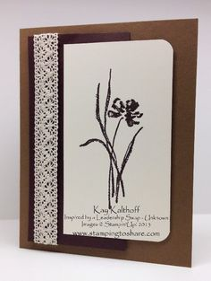 """By Kay Kalthoff. Uses stamps from """"Love and Sympathy"""" set by Stampin' Up. Video tutorial on her website."""