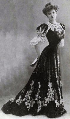 """A """"Gibson Girl"""" look from 1900. I understand how unhealthy the corset did the women back in those day, I choose this because it was design for high society, used S-bend corset, and a lot of lace.Unknown designer Info and Image from: http://www.pinterest.com/pin/122230577358799192/"""