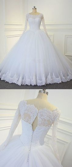 Luxury Lace Long Sleeves Bridal Dresses Ball Gown Wedding Dresses Court Train, Shop plus-sized prom dresses for curvy figures and plus-size party dresses. Ball gowns for prom in plus sizes and short plus-sized prom dresses for Long Sleeve Bridal Dresses, Girls Bridesmaid Dresses, Wedding Dresses With Straps, Sweetheart Wedding Dress, Formal Dresses For Weddings, Wedding Dress Sleeves, Long Sleeve Wedding, Dream Wedding Dresses, Bridal Gowns