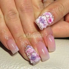 Natural acrylic nails with 3D flowers