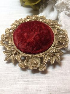 Antique Velvet Pin Cushion Pin Keep ~ MyVintageAlcove, $32.99  https://www.etsy.com/listing/177483850/antique-velvet-pin-cushion-pin-keep