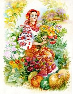 Picture of Watercolor Illustration stock photo, images and stock photography. Russian Folk Art, Ukrainian Art, Ukrainian Christmas, Historical Pictures, Watercolor Illustration, Female Art, Illustrations Posters, Art Decor, Street Art
