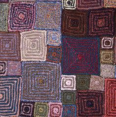 "diy_crafts-This work is by Sophie Digard and is wonderful! ""This work is by Sophie Digard and is wonderful! It's mitered knitting, but I could do Crochet Afghans, Poncho Crochet, Crochet Flower Scarf, Crochet Quilt, Freeform Crochet, Crochet Art, Love Crochet, Crochet Motif, Beautiful Crochet"
