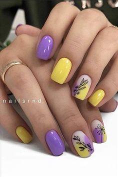 Short Square Nails, Short Nails, Ocean Nail Art, Yellow Nails Design, Finger, Purple Nails, Cool Nail Designs, Gorgeous Nails, Brighten Your Day