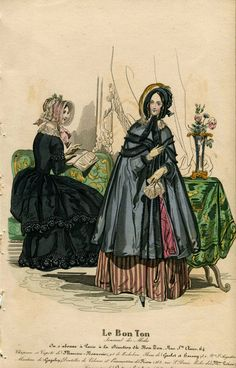Victorian Fashion Plate Hand Coloured Bookplate Color Vintage Print Circa 1800 Hats Dresses Costumes Le Bon Ton French via Etsy