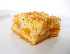 "Peach Crumb Bars 7/7/15: Dough- 3 c flour, ½  c white sugar, ½  c. brown sugar, 1 tsp baking powder, ½ tsp cinnamon, 2 sticks butter, and 1 egg; Filling- 8 diced peaches, 2 Tbl fresh lemon juice, ½ cup flour (+ extra 2 Tbl peaches were very juicy), ½  c white sugar, ¼ c brown sugar, 1 tsp vanilla, ¼ tsp kosher salt, ½ tsp cinnamon and sprinkle fresh ground nutmeg. Baked in 13X9"" pan at 375F for 35 minutes. Amazing!"