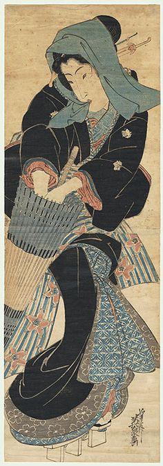 Eisen (1790 - 1848) | 'Beauty with an Umbrella Kakemono' Japanese Woodblock Print