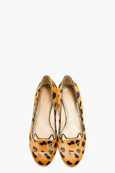 CHARLOTTE OLYMPIA Black & Tan Hyena Print Calf-Hair Kitty Flat