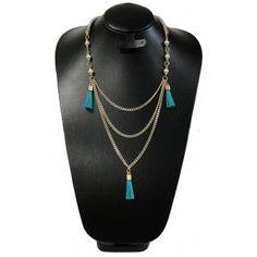 Collar de Moda con Perlas, Cadena de Aluminio e Hilo Trenzado