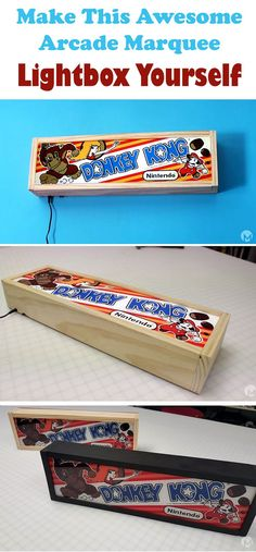 Create your own marquee lightbox and put back your old time favorite arcade game to life! See video and written instructions here==> http://gwyl.io/make-awesome-arcade-marquee-lightbox/ | Make This Awesome Arcade Marquee Lightbox Yourself |