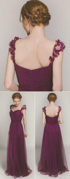 Elegant Long Purple Bridesmaid Dress with Floral Straps TBQP327
