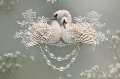 """Купить Колье-трансформер """"Жемчужные Лебеди"""". Свадебная коллекция. - лебедь, лебеди, Лебединое озеро"""