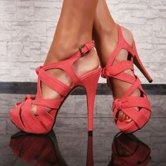 Coral Strappy Heels