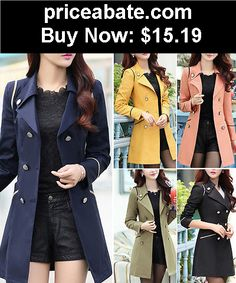 Women-Coats-And-Jackets: 2015 New Women Ladies Fashion Double Breasted Winter Long Trench Coat Outwear - BUY IT NOW ONLY $15.19