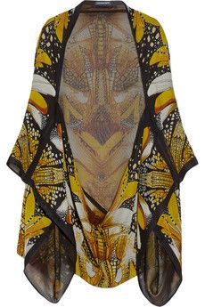 Alexander McQueenDragonfly Print Silk Georgette Cape - now on sale at Net-a-Porter