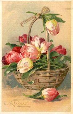 Vintage greeting card....Spring Tulips in Basket