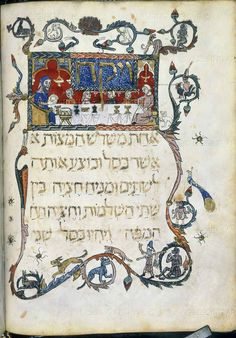 A family celebrating the feast of Passover: Breaking the Matzah bread (unleavened bread). Vellum manuscript from the Barcelona Haggadah. Catalonia; 14th century. Shelfmark: Add. 14761 Page Folio Number: f.20v  The British Library, London, Great Britain