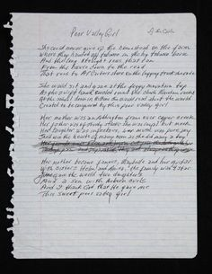 """Handwritten lyrics by Johnny Cash to the song """"Poor Valley Girl."""""""
