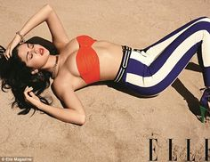 Unbelieberble: Selena Gomez looks stunning in a red bra and skintight leggings in this month's Elle