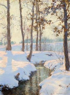 Seeking superior fine art prints of Brook in Winter by Walter Launt Palmer? Customize the size, media & framing for your style. Impressionist Landscape, Watercolor Landscape, Landscape Art, Landscape Paintings, Vintage Landscape, Chinese Landscape, Green Landscape, Contemporary Landscape, Beach Landscape