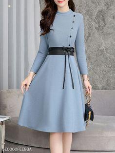Round Neck Bowknot Decorative Button Plain Skater Dress,  #Bowknot #Button #Decorative #dress #Neck #Plain #Skater