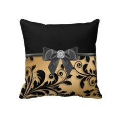 Elegant Gold Floral Throw Pillows