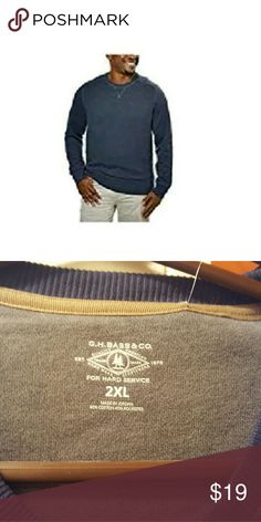 NEW MENS G.H. BASS & CO. FLEECE CREW 2XL BLUE Beautiful blue color sweatshirt.  Brand new.  60% cotton. 40% polyester. G.H. Bass & CO Tops Sweatshirts & Hoodies