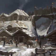 Slavic settlement, Dmitry Dubinsky on ArtStation at https://www.artstation.com/artwork/Ak1RX