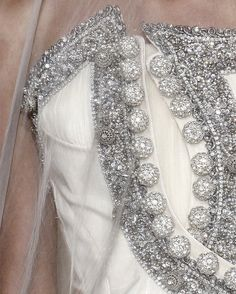 A Givenchy Haute Couture bodice up close. Then gems and embellishment that have been embroidered on must have taken months. The under bodice layer looks like it has micro pleats to it, I wonder how many layers this piece is. Couture Details, Fashion Details, Love Fashion, High Fashion, Fashion Design, Givenchy, Lesage, Looks Style, Couture Fashion