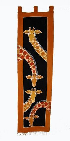 All our African wall hangings are made from cotton, are hand painted and therefore unique. This horizontal one features a giraffe design with a cream background.