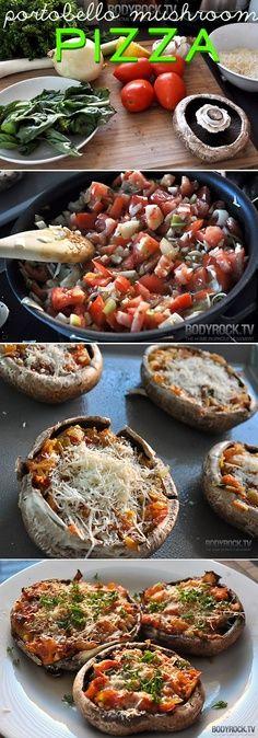 Portobello Mushroom Pizza. Idée de génie :)