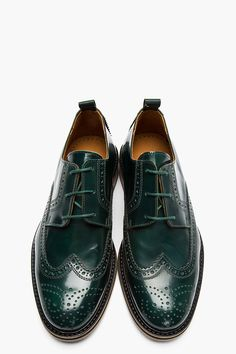 AMI Green Glazed Leather Wingtip Brogues