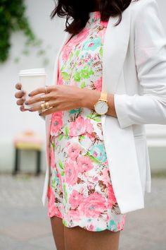 Floral romper, white blazer, & Kate Spade watch