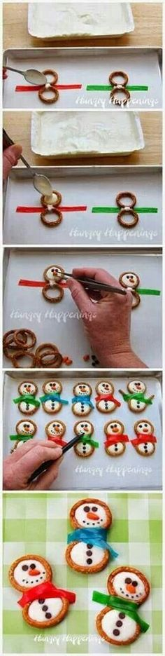 Pretzel rings, Fruit Roll-Ups, and frosting are an easy way to make delicious snowman cookies. Pretzel rings, Fruit Roll-Ups, and frosting are an easy way to make delicious snowman cookies. Christmas Hacks, Christmas Sweets, Christmas Cooking, Noel Christmas, Christmas Goodies, Winter Christmas, Christmas Crafts, Christmas Candy, Christmas Pretzels