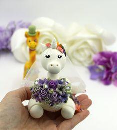 Unicorn personalized wedding cake topper, giraffe cake topper, mr and mrs custom geek fantasy wedding Personalized Wedding Cake Toppers, Custom Cake Toppers, Custom Cakes, Unicorn Wedding, Giraffe Cakes, Groom Ties, Types Of Hats, Unicorn Cake Topper, Fantasy Wedding