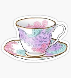 """Classic China Tea Cup - TeaParty"" Stickers by ZombiePunkRat Tumblr Stickers, Cool Stickers, Printable Stickers, Laptop Stickers, Cactus Stickers, Kawaii Stickers, Journal Stickers, Scrapbook Stickers, Planner Stickers"