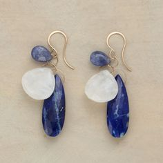 """STROKE OF MIDNIGHT EARRINGS--Lapis convene on 14kt gold hoops with tanzanite and rainbow moonstones. Handcrafted in USA by Melissa Joy Manning. Approx. 2-1/8""""L."""