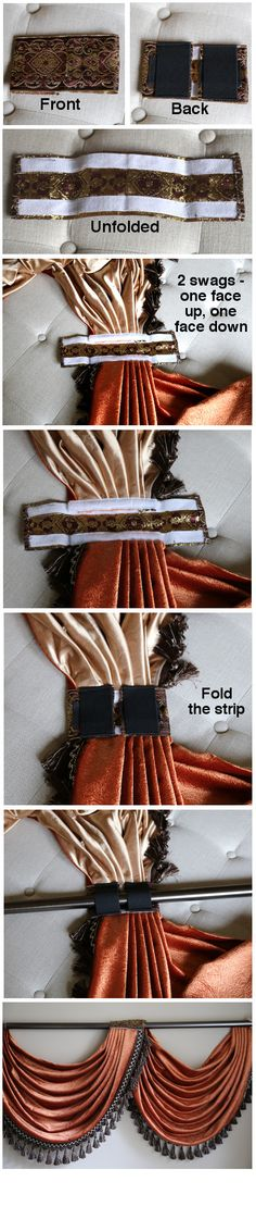 Flip Pole Swag Valance Curtains - Easy installation and mix n' match-expand pin to see finished swag