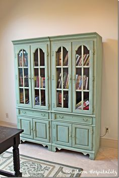 Green bookcase painted with MMS paint.