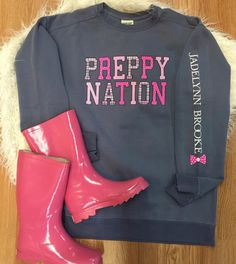 Prepare for the rain with some pink rain boots Of course paired with a Jadelynn Brooke sweatshirt at 35% off with promo code: TEES35 *Remember unless already discounted ALL t-shirts and sweatshirts are 35% off in stores and online! Boots in both stores. #shopPD
