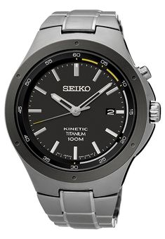 Seiko Mens Kinetic Sport Titanium - Blue Dial - Date - Bracelet - 100 Meter WR Seiko Kinetic Titanium, Seiko Titanium, Titanium Blue, Mens Watches Leather, Seiko Watches, Casual Watches, Omega Seamaster, Luxury Watches For Men, Sport Watches