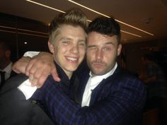 Danny Miller & Ryan Hawley  #Robron celebrating @emmerdale winning the big one at last night's @SoapAwards