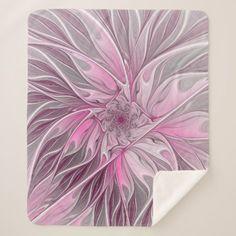 Fractal Pink Flower Dream Floral Fantasy Pattern Sherpa Blanket - floral gifts flower flowers gift ideas
