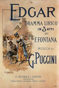 "Puccini's ""Edgar"", poster by Adolf Hohenstein, 1889"