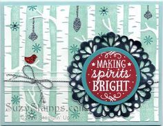 Stampin' Up! Cards - 2015-11 Class - Among the Branches stamp set, Woodland Embossing Folder, Tree Builder Punch and Metallic Foil Doilies