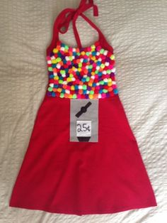 I made my bubblegum machine costume out of an apron instead of a dress. Hot glue the pom poms at the top then used silver duct tape to make the 25 cent slot. Couple Halloween Costumes, Halloween Town, Holidays Halloween, Homemade Halloween, Easy Halloween, Halloween Crafts, Candy Costumes, Cool Costumes, Bubble Gum Machine Costume