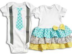 Boy Girl Twin  Matching Outfits   Aqua/Yellow/Gray by TheTwinShop, $45.00