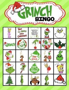 Have some holiday fun with this colorful Grinch Bingo Game! (Comes with 30 different bingo cards! Grinch Christmas Decorations, Grinch Christmas Party, Christmas Movie Night, Grinch Party, Christmas Games, Family Christmas, Holiday Fun, Christmas Holidays, Christmas Crafts