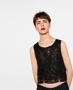ZARA - WOMAN - LACE AND SEQUIN TOP